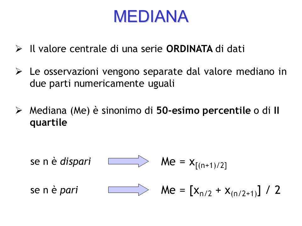 MEDIANA Me = x[(n+1)/2] Me = [xn/2 + x(n/2+1)] / 2